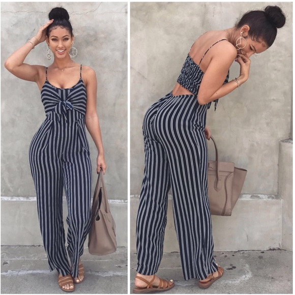 c75fa0b17a23 Navy Striped Tie Bow Palazzo Jumpsuit